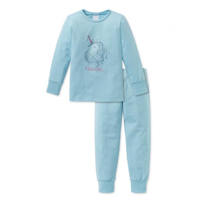 Schiesser Mädchen Schlafanzug lang Ringel Einhorn türkis - 163381