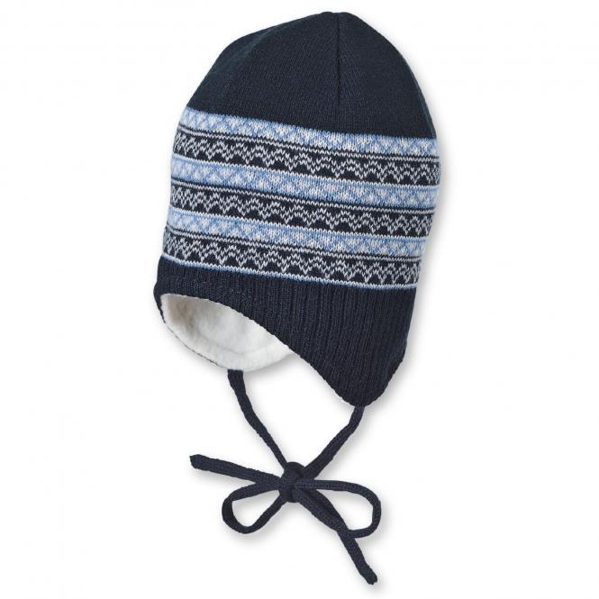 Baby Jungen Strickmütze zum Binden mit Muster und Baumwollfleece-Futter, marineblau - 4701944