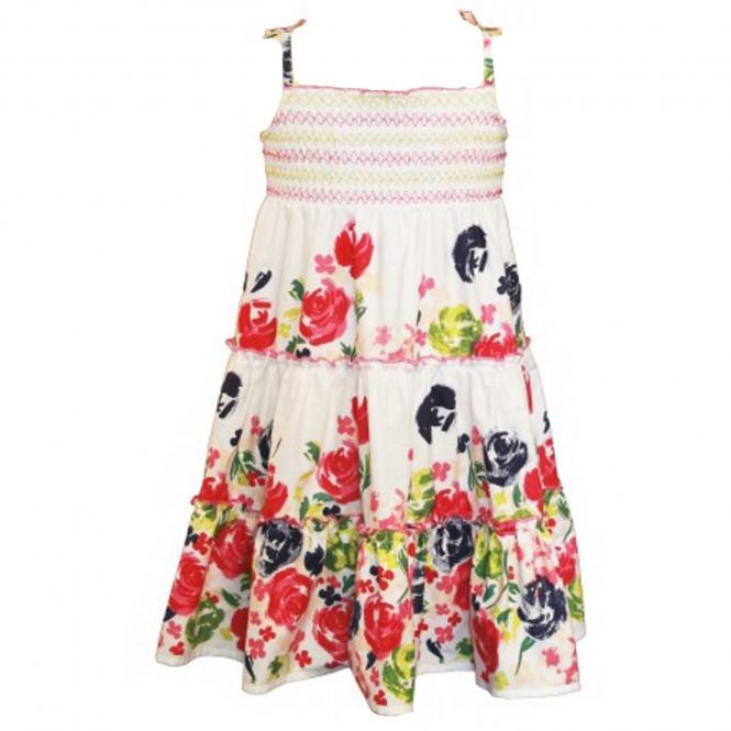 Mädchenkleid mit Blumen-Motiv, weiß-gemustert