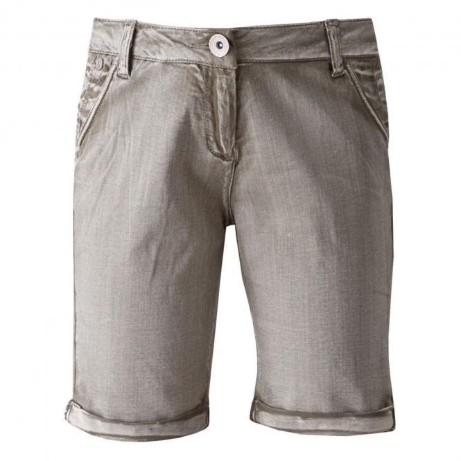 Mädchenshorts kurze Jeans einfarbig, sand - D72725