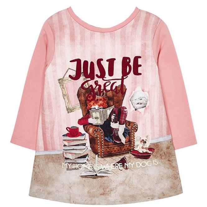 Mädchen Kleid mit langen Armen und Applikation, rosa - 4.972r