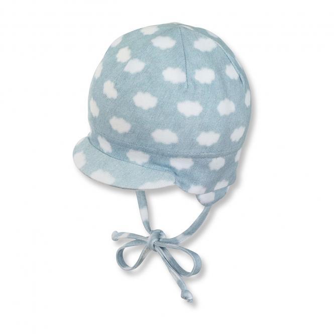 Baby Jungen Schildmütze zum binden mit Ohren- und Sonnenschutz gepunktet, blau - 1501810