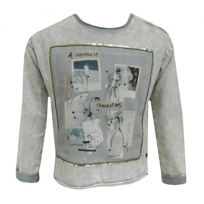 Mädchen Sweatshirt Pullover grau mit Glitzer Palietten und coolem motiv