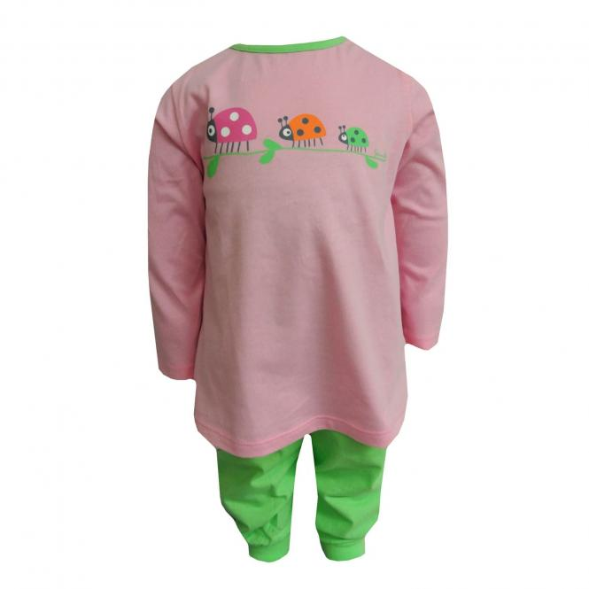 Baby Mädchenpyjama Marienkäfer, rosa-grün