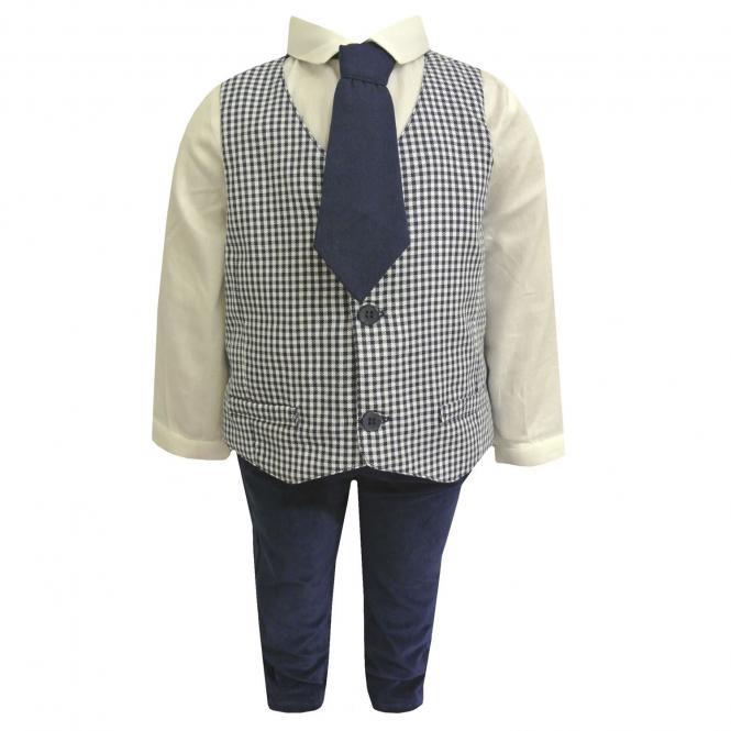 Festliches Baby Jungen Set Hose Weste Hemd und Krawatte, blau