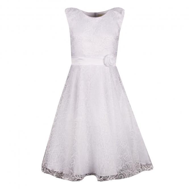 Festliches Kleid Mädchen Taufkleid Rosenmuster, weiß - 574225