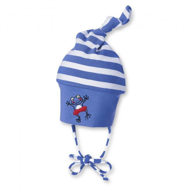 Knotenmütze Baby Jungen gestreift, blau - 1501740