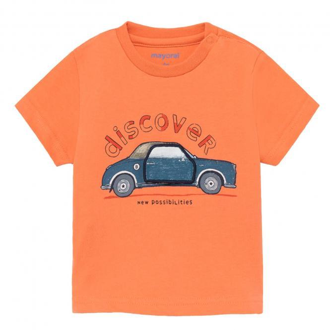 "Jungen Baby T-Shirt 100% Baumwolle kurzarm 3D-Effekt""discover-Auto"", orange -1.006"
