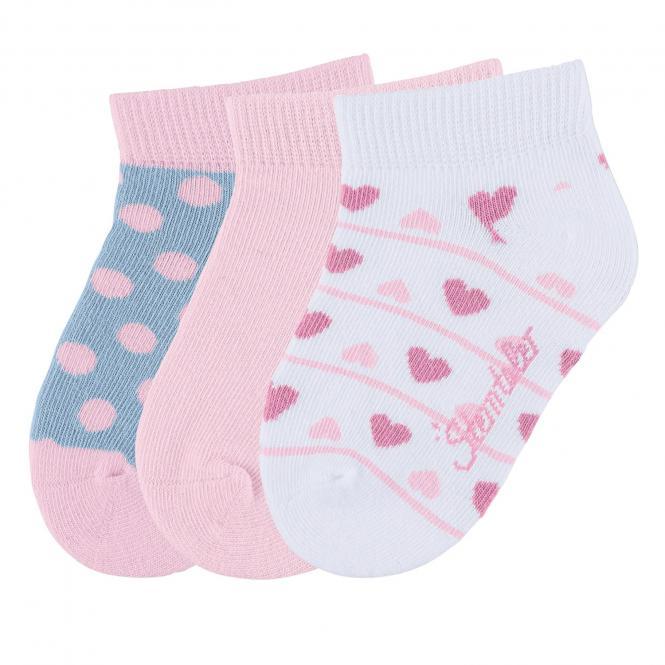 """Mädchen Baby 3 Paar Sneaker Söckchen Socken 3er-Pack """"Herzen/Punkte"""", rosa, weiß - 8512022"""