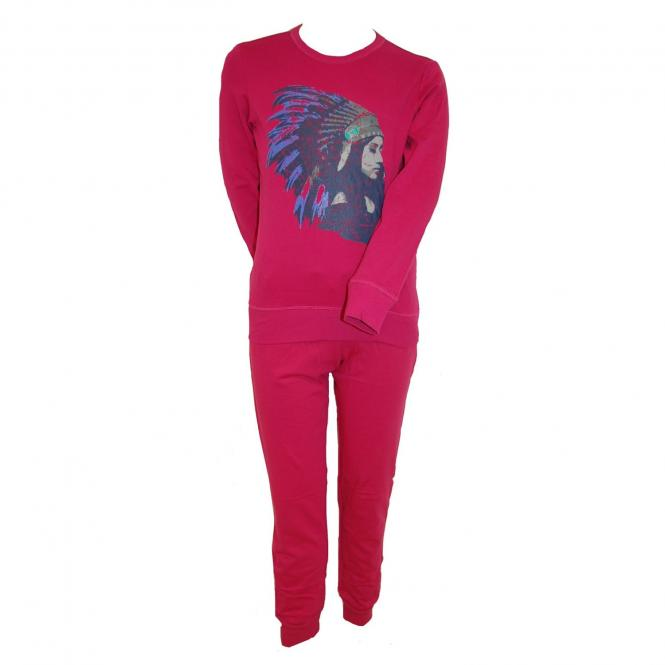 Langarm Schlafanzug Mädchen Indianer, pink