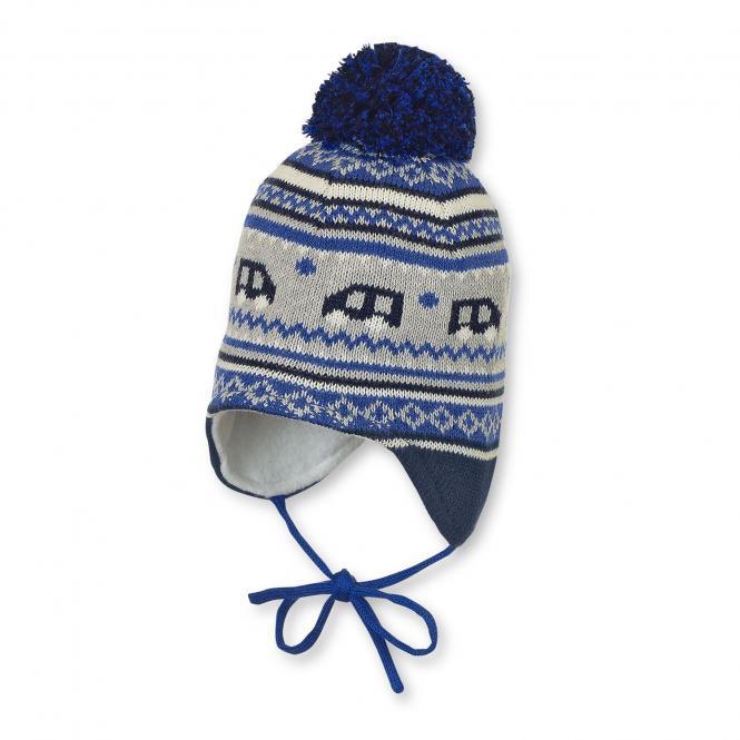Baby Jungen Mütze Strickmütze zum binden mit Ohrenschutz und Bommel, gefüttert von Sterntaler, blau - 4701756