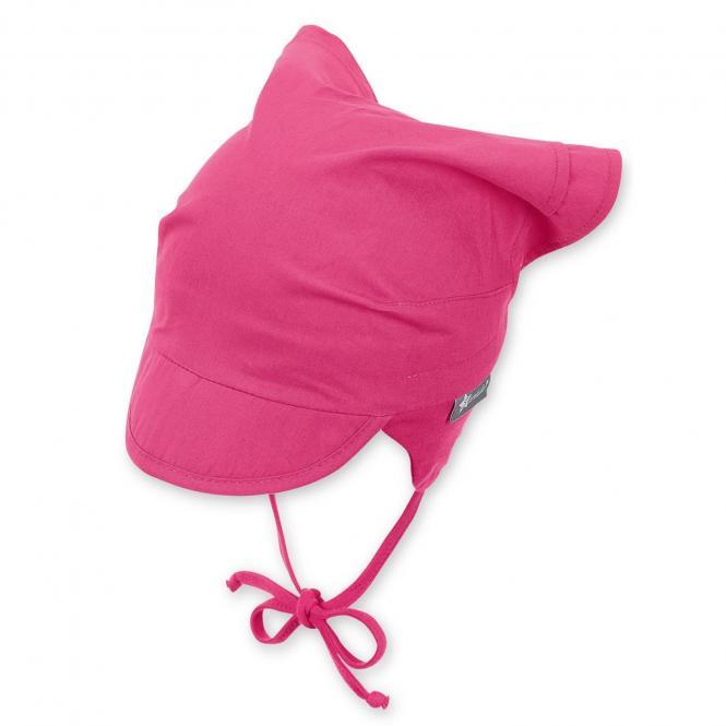 Mädchen Baby Kopftuch zum Binden mit Schirm, Ohrenschutz, LSF UV-Schutz 50+, einfarbig magenta – 1452010