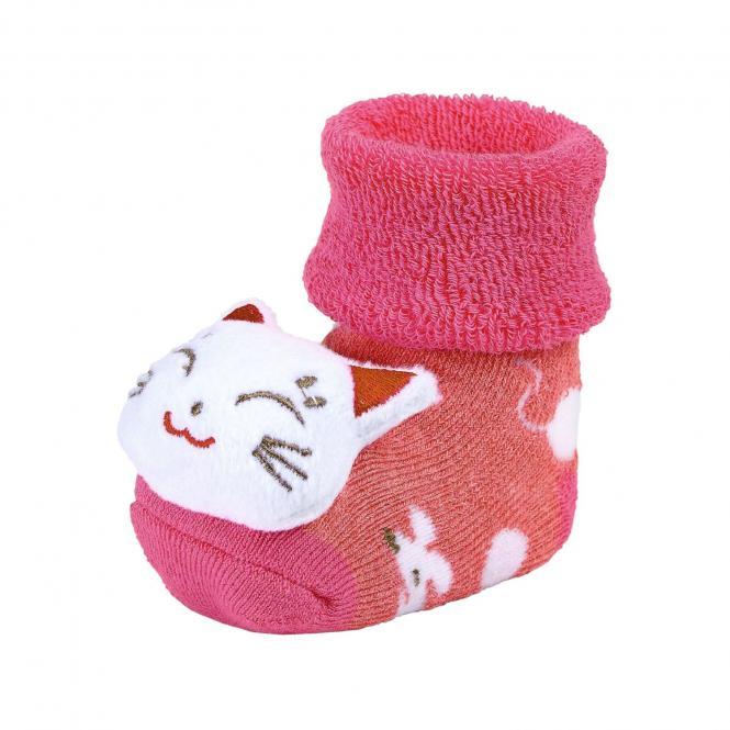 """Baby Mädchen Rassel-Söckchen Plüsch-Socken, beerenrot """"Katze und Mäuse"""" - 8441804"""