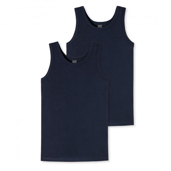 Jungen Tank Top Unterhemd Doppelpack Basic, dunkelblau - 173538