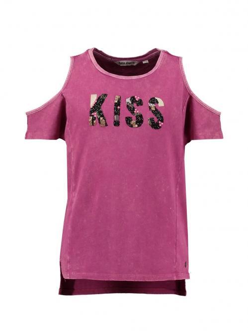 """T-Shirt kurzarm Mädchen """"Kiss"""", brombeer - C72414"""