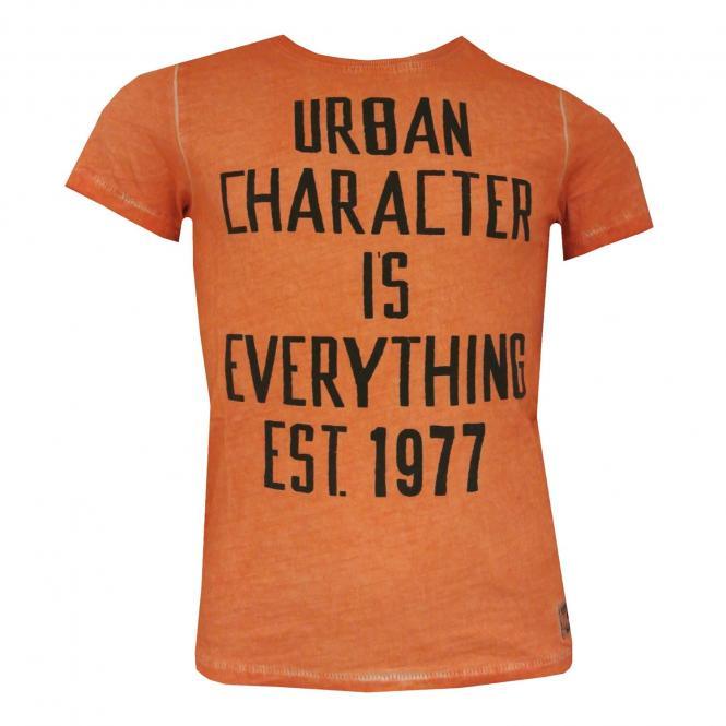 Jungen T-Shirt kurzarm mit schwarzen Aufdruck, orange