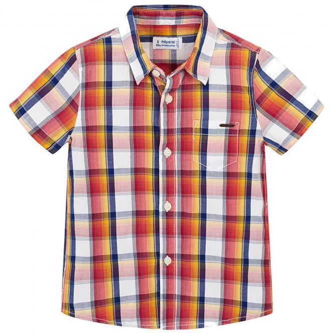Jungen Hemd kurzarm kariert, orange - 3.134br