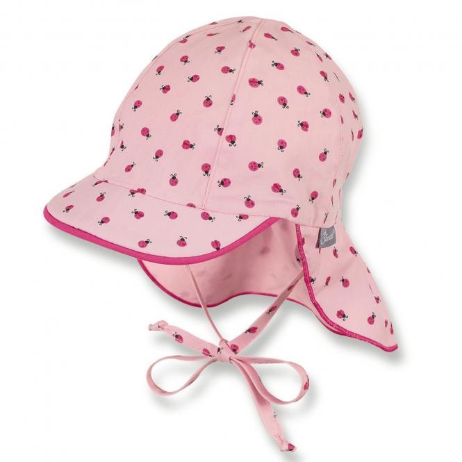 Mädchen Schirmmütze zum Binden, Sommermütze mit Nackenschutz, UV-Schutz 15, rosa - 1401931
