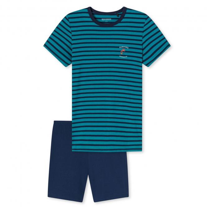 "Jungen Schlafanzug Pyjama kurz Sommer gestreift ""Wake up"", dunkelgrün – 173370"