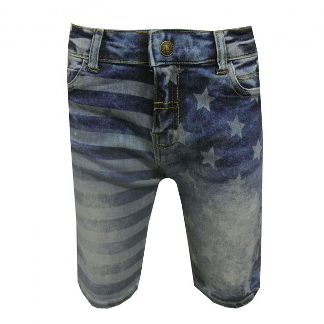 Jungen Bermuda kurze Hose gemustert, jeans