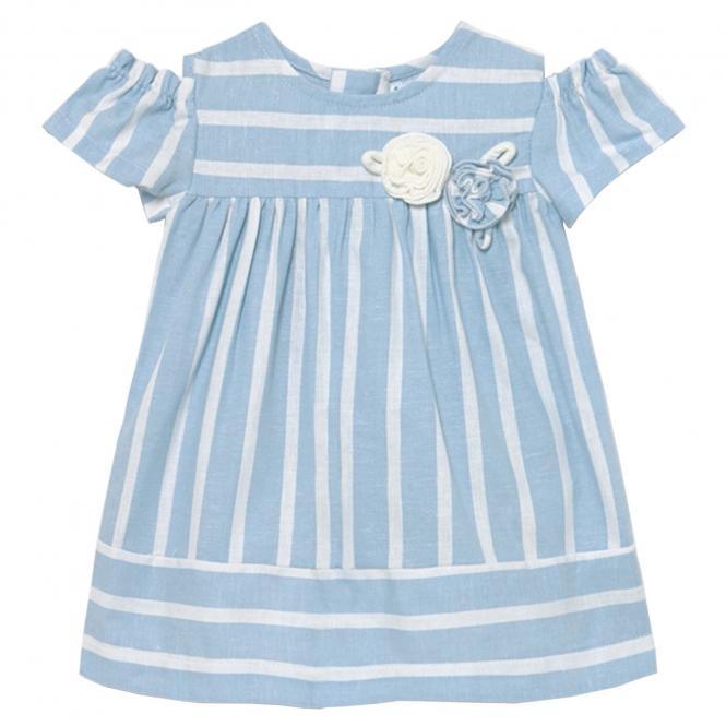 """Mädchen Baby Kleid Sommerkleid gestreift """"Rosen"""", hellblau/weiß - 1980"""