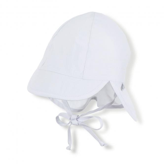 Baby Jungen Mädchen Schirmmütze zum Binden LSF UV-Schutz 50+ Sommermütze Schildmütze mit Nackenschutz, einfarbig weiß – 1502025