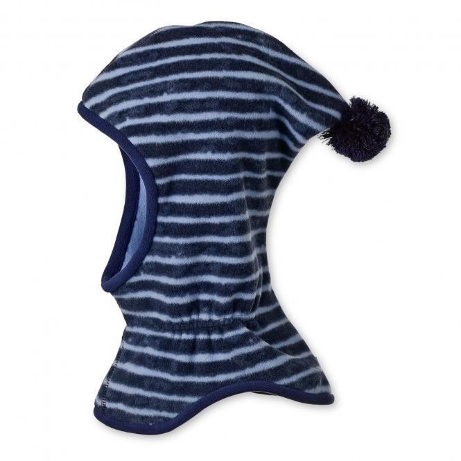 Jungen Schalmütze Wintermütze Fleece, gestreift mit Bommel, blau - 4521745