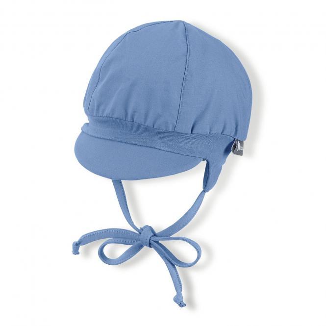 Baby Jungen Ballonmütze Schirmmütze zum Binden LSF UV-Schutz 50+ Sommermütze, einfarbig samtblau – 1502020