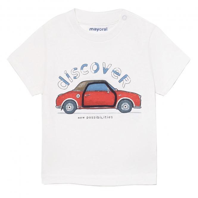 """Jungen Baby T-Shirt 100% Baumwolle kurzarm 3D-Effekt """"discover-Auto"""", weiß -1006."""