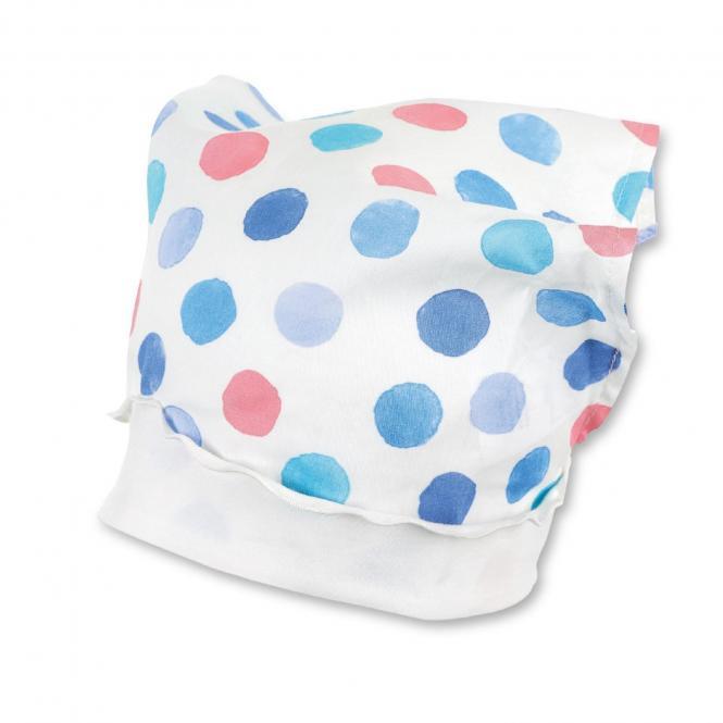 """Mädchen Baby Kinder Kopftuch Tuchmütze """"Punkte"""", weiß-himmelblau – 1452000"""