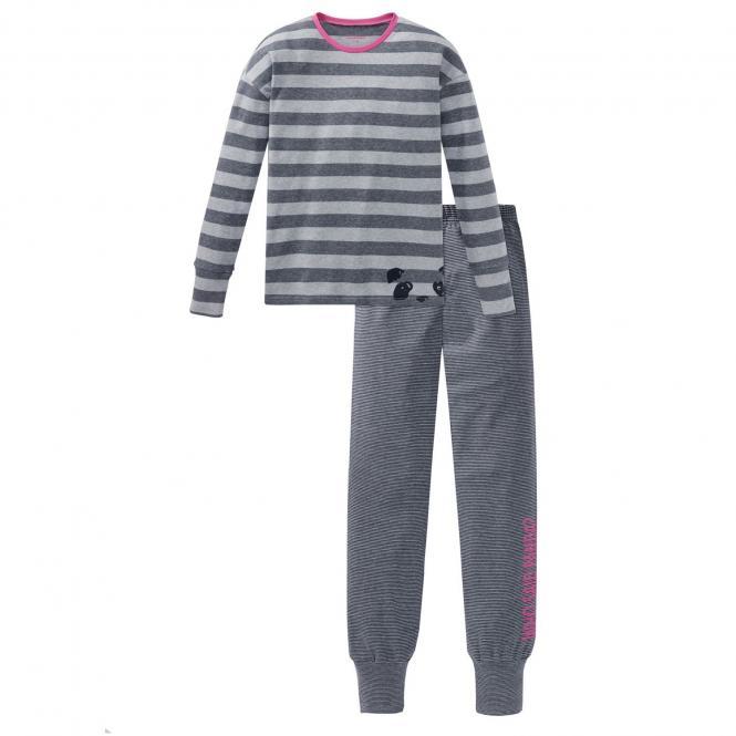 Schiesser Mädchen Schlafanzug Langarm Ringel Panda grau/meliert -167780