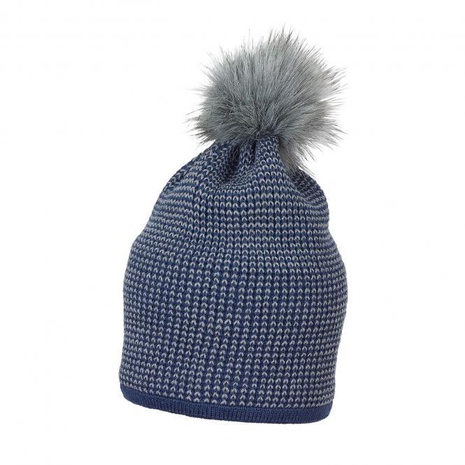 Mädchen Mütze Wintermütze Strick mit Bommel aus Kunstpelz und Glitzerfäden, tintenblau - 4721820