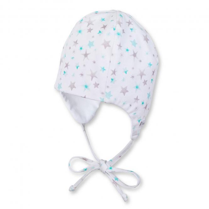 Baby Mädchen Mütze Übergangsmütze zum Binden Sterne, mint - 1501831
