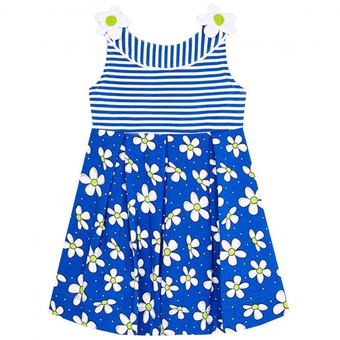 """Mädchen Kleid Sommerkleid, blau """"Blumen"""" - 3.950"""