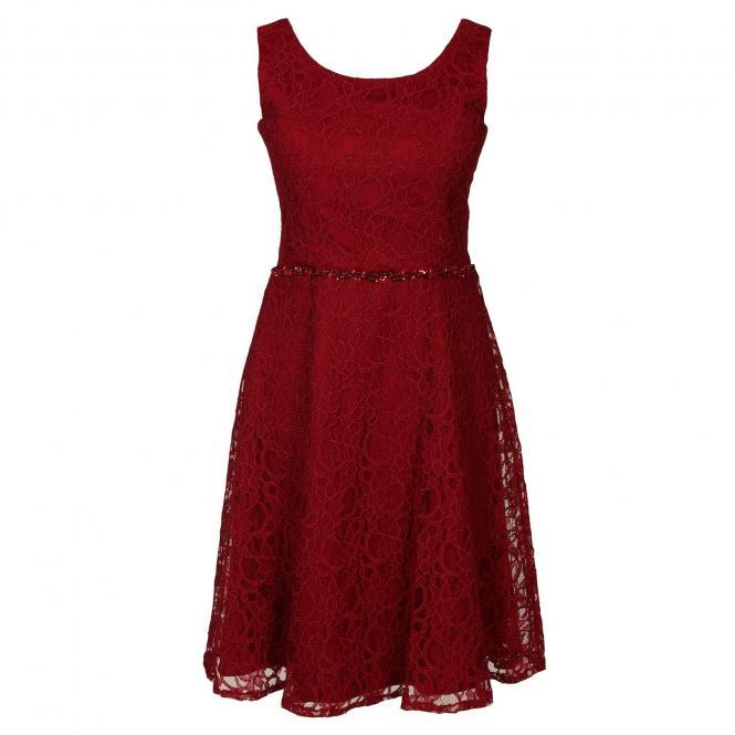 Festliches Spitzenkleid mit Stola und Strass-Stein-Trimming an der Taille, Mädchen, rot - 1374500r