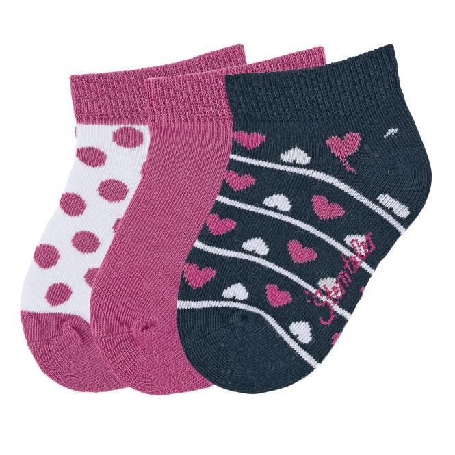 "Mädchen Baby 3 Paar Sneaker Söckchen Socken 3er-Pack ""Herzen/Punkte"", pink, marineblau - 8512022"