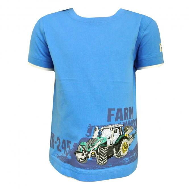 Jungen T-Shirt Kurzarm-Shirt Traktor, mittelblau - 73112148mb