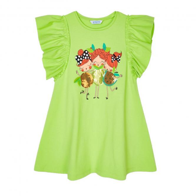 """Mädchen Kleid Sommerkleid kurzärmlig Pailleten """"Süße Früchtchen"""" , grün - 3953g"""