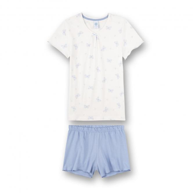 """Mädchen kurzer Schlafanzug """"Schmetterling"""" weiß/blau -244979"""