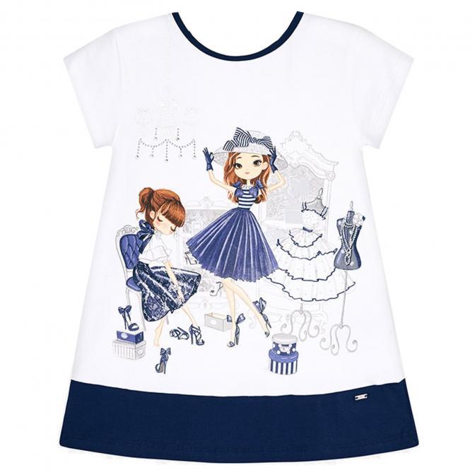Mayoral Sommerkleid kurzarm mit süßem Motiv , dunkelblau - 3.945db