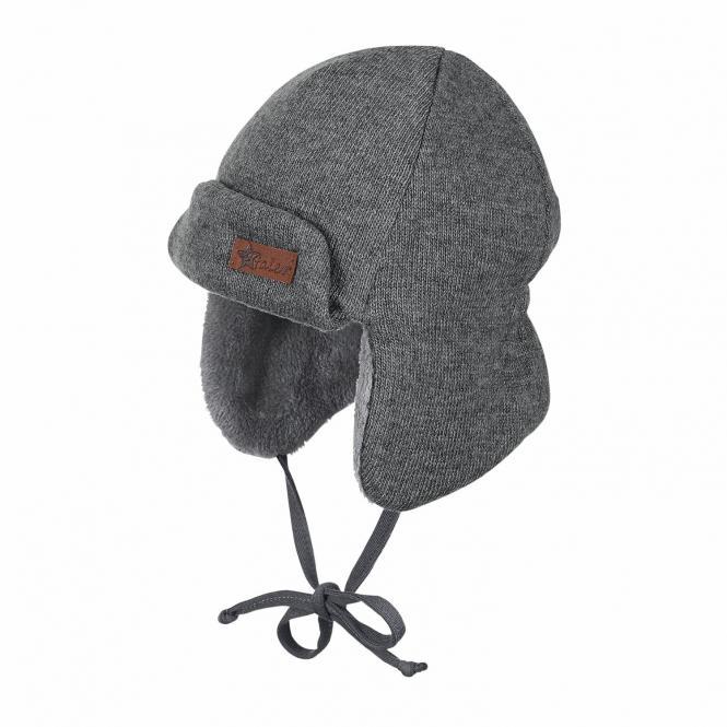 Baby Jungen Wintermütze Fliegermütze mit Ohrenschutz zum Binden einfarbig gefüttert, eisengrau - 4601851