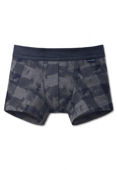Jungen Unterhosen Shorty kariert gemustert, grau - 161305
