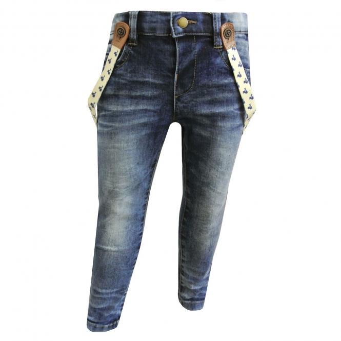 Baby Jungen Jeans Jeanshose mit Hosenträgern, blau - 1537