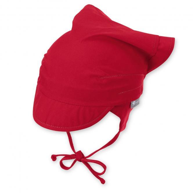 Mädchen Baby Kopftuch zum Binden mit Schirm, Ohrenschutz, LSF UV-Schutz 50+, einfarbig rot – 1452010