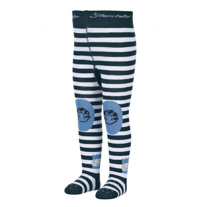 "Jungen Baby Strumpfhose Krabbelstrumpfhose mit Po-Motiv ""Nilpferd"", marineblau – 8652002"