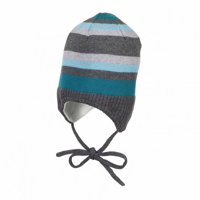Baby Jungen Mütze Wintermütze Strickmütze gestreift zum Binden mit Ohrenschutz Fleecefutter, anthrazit mel. - 4701844
