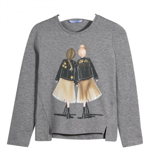 "Mädchen Shirt Langarmshirt mit Rundkragen ""Rock'n Roll"" Girls, grau - 7.065-grau"