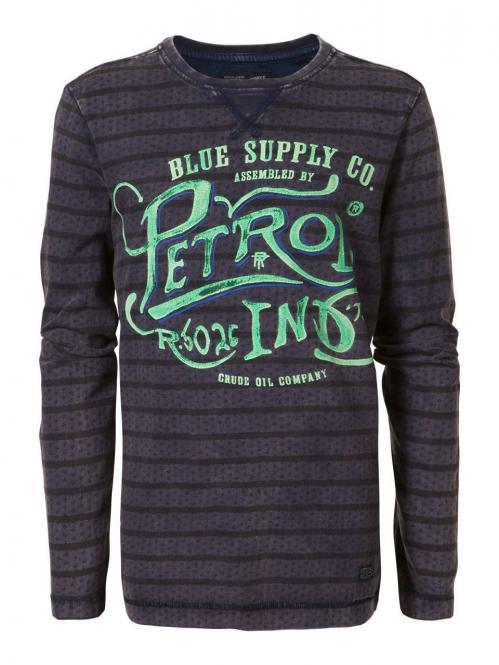 Jungen Langarmshirt T-Shirt gestreift mit grünem Druck, lila - B-SS17- TLR656