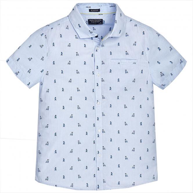 Jungenhemd Hemd kurzarm Slim Fit Hundealloverdruck, hellblau - 6142