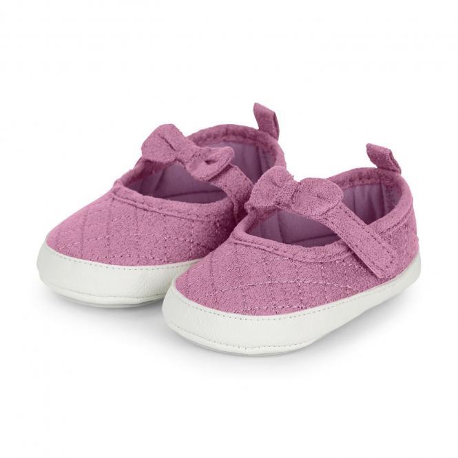 """Mädchen Baby-Schuhe Baby-Ballerina mit Klettverschluss und rutschfester Sohle für innen und außen """"Schleife"""", rosa – 2302001"""